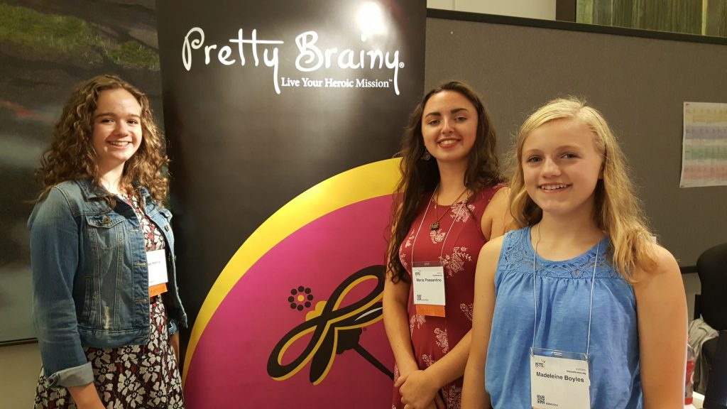 Invent: Bee, Maria and Madeleine (l to r) designed and built prototypes to address health and wellness dilemmas facing their community. The girls, who are in high school, gained the experience in a Pretty Brainy workshop on code, social entrepreneurship and design thinking.