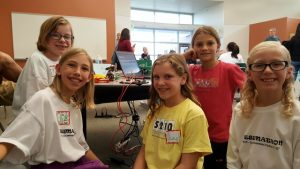 Suzy, Amelia and their teammates with their finished prototype.