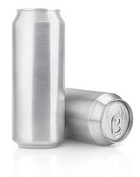 Aluminum beverage cans manufactured and coated by Ball Packaging.