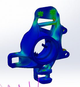 Visual results from Ioana's use of the engineering technology Finite Element Analysis on her upright suspension.